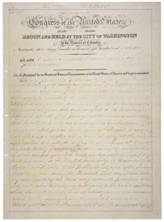 Acima, o texto oficial da Lei de Homestead, promulgada em 1862