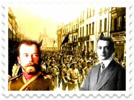 O Czar Nicolau II (à esquerda) e o líder Menchevique, Alexander Kerenski (à direita)