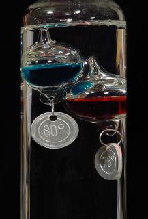 Termômetro de Galileu mostra que a densidade depende da temperatura