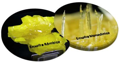 As duas variedades alotrópicas do enxofre mais importantes são: rômbico e monoclínico