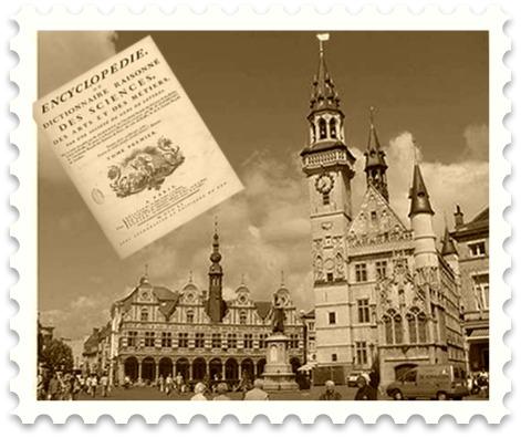 Exemplar da Enciclopédia, principal obra conjunta dos iluministas; e ao fundo Amsterdã, capital da Holanda