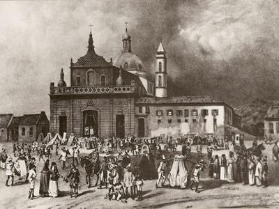 Igreja do Hospício de Nossa Senhora da Piedade da Bahia, litogravura de Johann Moritz Rugendas (1802-1858) que mostra parte do cenário da Sabinada