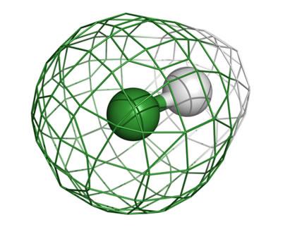 A ligação covalente do HCl é apolar. A nuvem eletrônica está mais deslocada no sentido do cloro, pois ele é mais eletronegativo que o hidrogênio