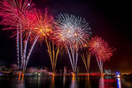 Os fogos de artifício exibem cores diferentes em razão da queima de diferentes elementos químicos