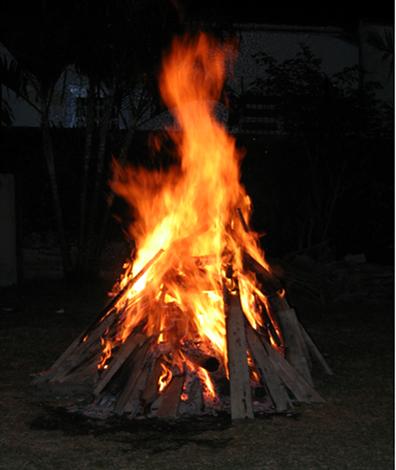 Quando estamos em frente a uma fogueira, recebemos energia por radiação