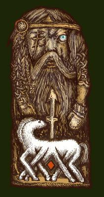A ilustração representa Odin, caracterizado pelos detalhes do olho arrancado, da lança e do cavalo