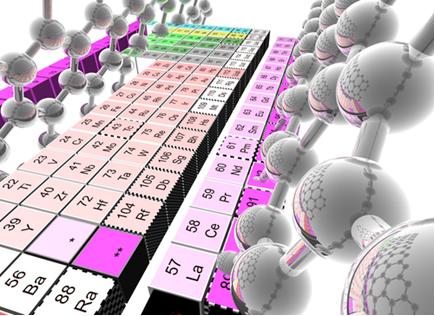 Elementos de transição em destaque (vermelho claro, rosa e lilás) na Tabela Periódica