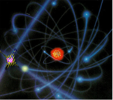 """A medida da eletroafinidade do átomo da figura é feita pela energia liberada por ele ao """"capturar"""" um elétron"""