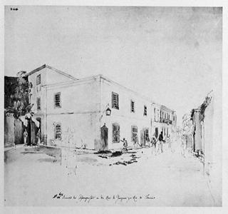 Gravura retratando a Aljube na rua da Valinha, conhecida por esse nome em decorrência da vala que existia para o escoamento do esgoto