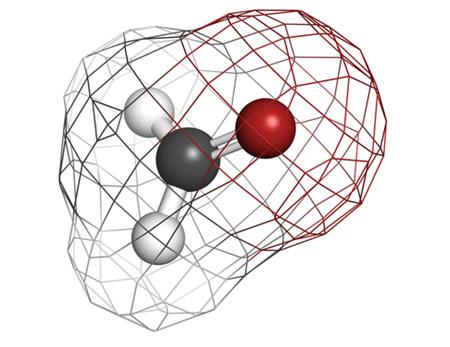 A molécula do formol possui geometria trigonal com um ângulo de 120º por causa da hibridização sp2 do carbono