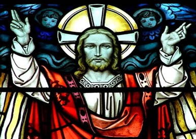 Vitral de Igreja ilustrando Jesus Cristo.