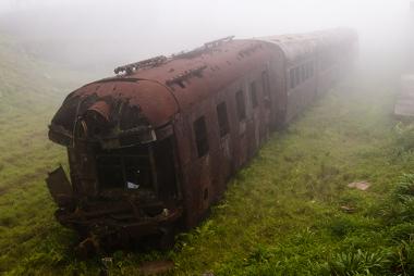 Vagão de trem abandonado na cidade de Paranapiacaba (SP)