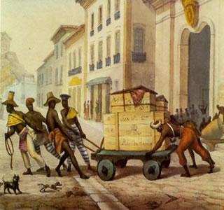 Gravura Negros de carro, de Jean-Baptiste Debret (1768-1848)