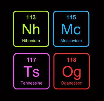 Nomes dos novos elementos químicos da Tabela Periódica