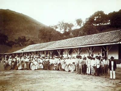 Escravos em uma fazenda de café no Brasil, fotografia de Marc Ferrez (1843-1923) feita em 1885