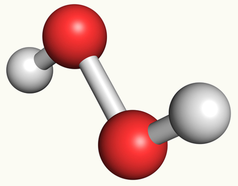 Esferas vermelhas representando a presença de dois átomos de oxigênio