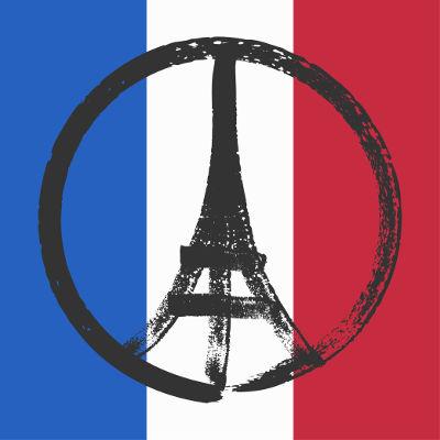 Símbolo de paz, feito a partir do desenho da Torre Eiffel, posto sobre a bandeira francesa