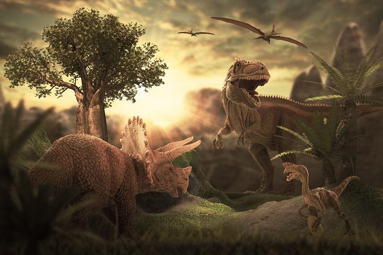 Dinossauros são répteis que viveram na Era Mesozoica.