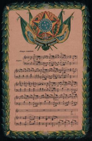 Acima, imagem da partitura do Hino Nacional Brasileiro