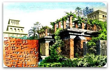 Escrita cuneiforme e os Jardins suspensos da Babilônia.