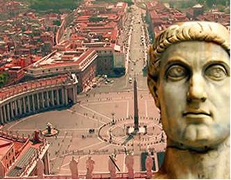 O imperador Constantino romano transformou Roma em centro de adoração cristã.