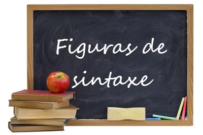 Alguns tipos de figuras de sintaxe: Elipse, zeugma, pleonasmo, anacoluto, prolepse, assíndeto, polissíndeto, eufemismo e hipérbole