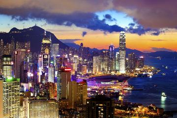 Vista noturna da cidade de Hong Kong, uma importante região da China
