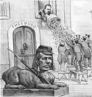 O presidente Floriano Peixoto foi retratado como uma esfinge por Angelo Agostini (1843-1810) por sua tentativa de controlar os gastos públicos