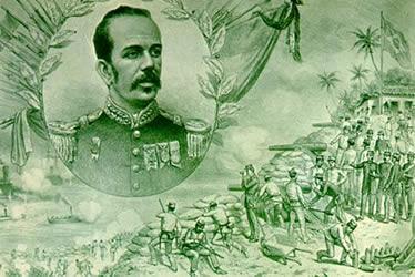 Ilustração de Angelo Agostini para a Revista D. Quixote representando Floriano frente à Revolta da Armada