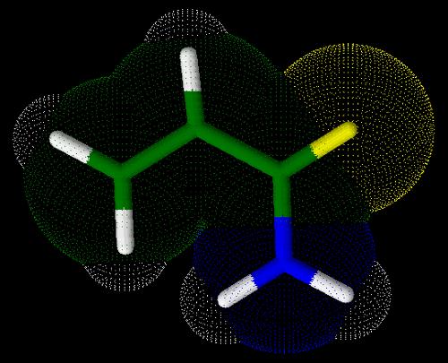 Representação em 3D da acrilamida