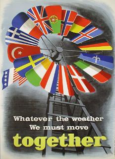 Cartaz de propaganda do Plano Marshall com as bandeiras dos países europeus ocidentais beneficiados