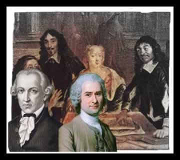 Kant e Rousseau (à frente) eram contra a presença feminina nos círculos intelectuais