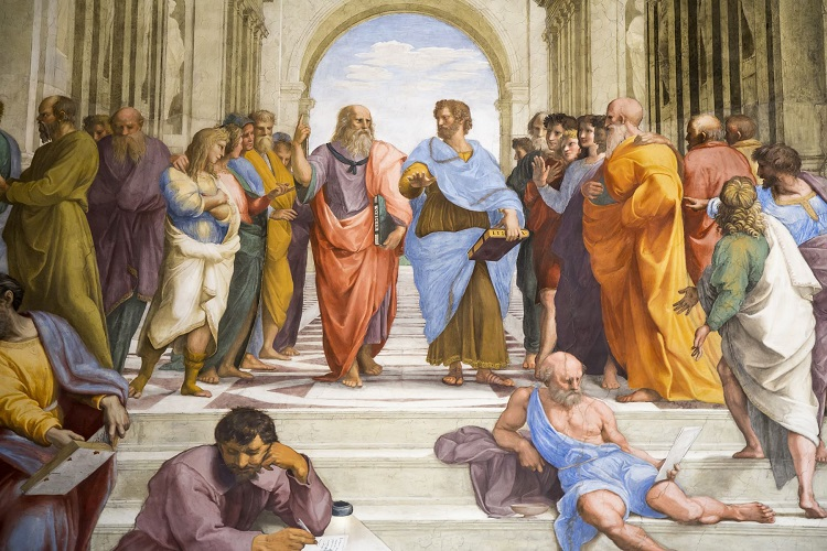 Platão (à esquerda) e Aristóteles (à direita) em recorte do plano central da Escola de Atenas, pintura renascentista de Rafael Sânzio.*