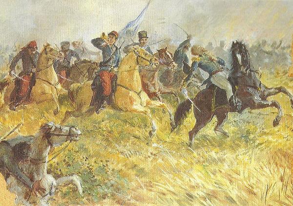 Quadro de Augusto Ballerini retratando a Batalha de Ituzaingó, que aconteceu em fevereiro de 1827.*