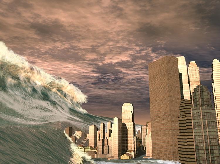 Representação de tsunami, um efeito provocado pelo maremoto.