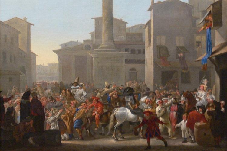 Tela de Johannes Lingelbach (1622-1674), Carnaval em Roma, que mostra um carnaval da commedia dell'arte