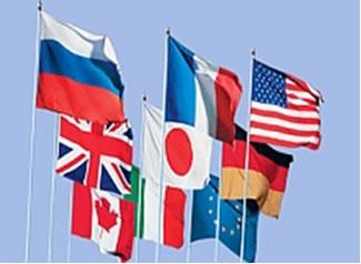 Bandeiras dos Países Integrantes do G-8 e da União Europeia